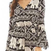 Elephant Print V-Neck Flared Sleeve Romper Playsuit