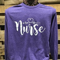 Southern Chics Apparel Nurse Nursing Heartbeat Canvas Long Sleeve T Shirt