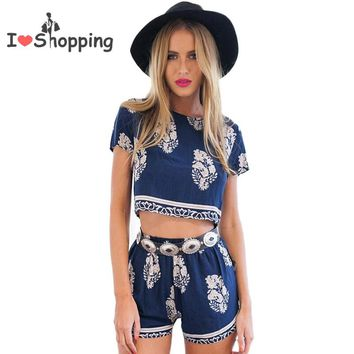 Summer Style Crop Top and Shorts Set Print Jumpsuit Women Casual Sexy Resort Wear Cropped monos mujer macacao feminino Playsuit