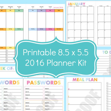 Half Size Planner Pages, 2016 Planner, 8.5 x 5.5