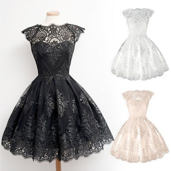 Retro Gothic Girl Waisted Lace Party Dress Cocktail Lolita Princess Bubble Skirt [9222648708]