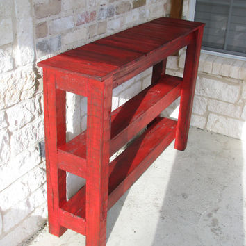 Rustic Red Console Table for Entry Way, Media or Decor
