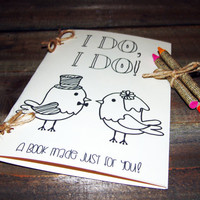 Children's Coloring Activity Book,birds,rustic wedding,burlap crayons,personalized ,customized,kids wedding favors,I do ,kids activity book