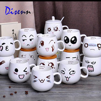 cartoon face expression coffee mugs