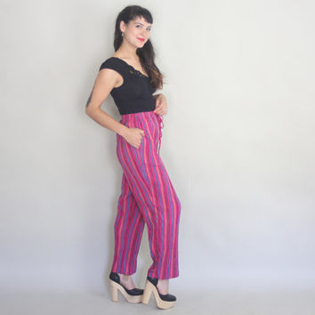 1980s SLOUCHY Harem Pants - Vintage 80s COTTON STRIPE High Waisted Pants - m