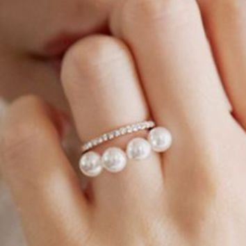 Lined Pearl and Rhinestone Layered Rings - LilyFair Jewelry