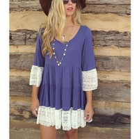 Candace Lace Patchwork Shift Dress