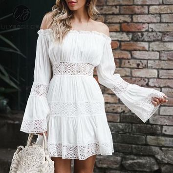 Lily Rosie Girl White Lace Short Dress Women Party Casual Dress Robe Femme Elegant Off Shoulder Embroidery Short Dress Vestidos