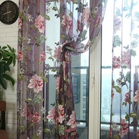 Edal Trendy Room Decor Floral Tulle Voile Window Curtain Panel Sheer Drape Scarfs Wine Red