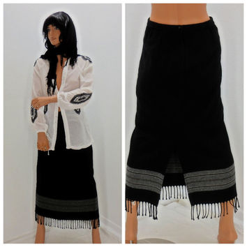 Black fringed bohemian skirt,  9 /10, 80's, long  boho, hippie, skirt, sarape skirt, made in USA, Sunny Boho