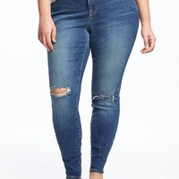 Smooth & Slim High-Rise Plus-Size Distressed Rockstar Jeans | Old Navy