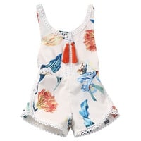 Trendy Sleeveless Floral Romper Summer Outfit for Toddler Girls