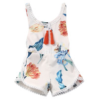 Baby Floral tassel romper Newborn Baby Girls Kids sleeveless Romper Jumpsuit Cotton Sunsuit Outfits