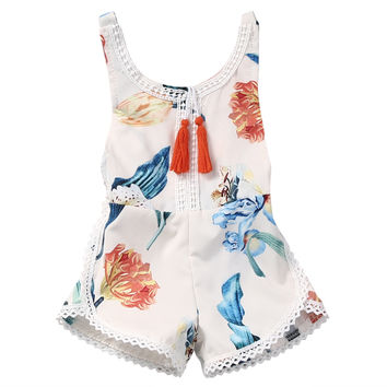 Floral Newborn Baby Girl Kids Clothes Sweet Girls Lily Flower Romper Jumpsuit Sunsuit Outfits 0-4Y