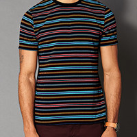 Striped Cotton-Blend Tee Black/Teal
