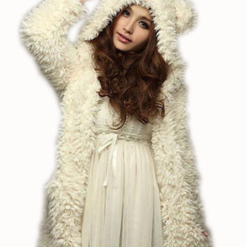 Women Sweatershirt Hoodies Coat 2016 New Winter Warm Fleece Hoodie Fashion Bear Ears Hooded Coat Outerwear Chaquetas Mujer