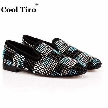 COOL TIRO New Handmade Black blue color rhinestone lattice men Cow Suede loafers