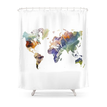 Society6 World Map Painting Shower Curtains