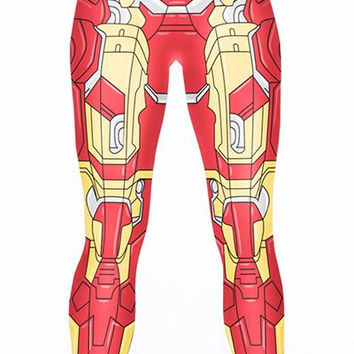 Iron Man Pattern Elastic Waist Yoga Pants