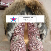 Custom Boots- Pink Winter Snow Fur Boots with Pearls and Gems- Front Half Covered only