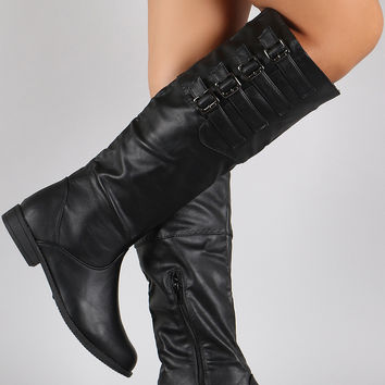 Buckled Round Toe Riding Knee High Boots