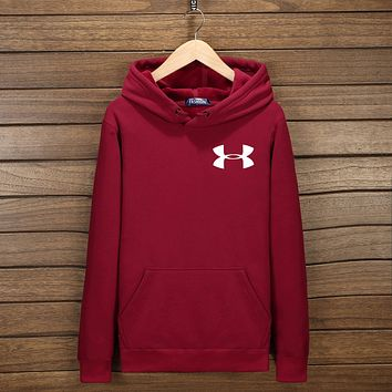 UNDER ARMOUR Fashion Women Men Lover Hoodie Top Sweater Wine Red I-YSSA-Z