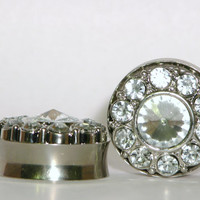 """Silver Crystal Plugs 5/8"""" 3/4"""" 1"""" 16mm 19mm 25mm"""