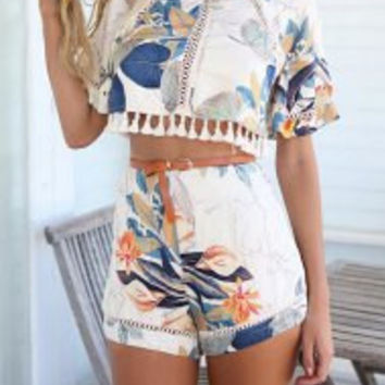Multi Color Printed Blouse and High-Waist Shorts