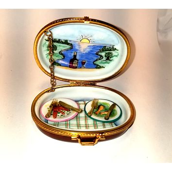 Lovers Picnic Basket for Two 1 of 750 First One Painted - Limoges Box Retired Extremely Rare