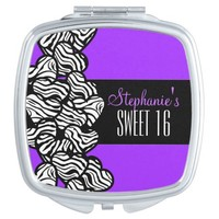 Cute Purple zebra heart Sweet 16 Birthday Mirror