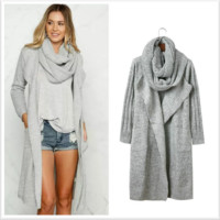 Gray Pile Collar Knit Sweater Cardigan B0014337