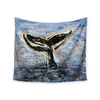 "Josh Serafin ""Whale Tail"" Coastal Painting Wall Tapestry"