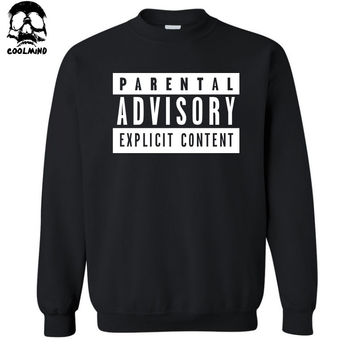 top quality fashion casual Parental Advisory Explicit Content men fleece hoodies casual crewneck sweatshirt C01