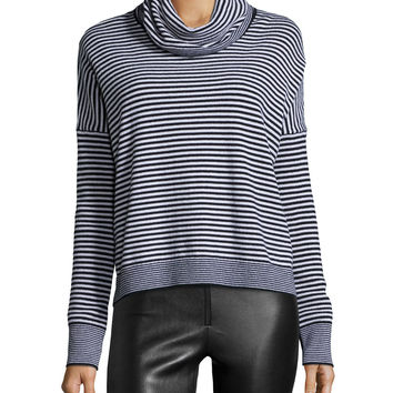 Long-Sleeve Knit Funnel-Neck Top, Black/White, Size: