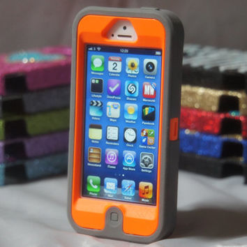 iPhone 5 Case Custom Otterbox Grey/Orange Defender Series for Apple iPhone 5