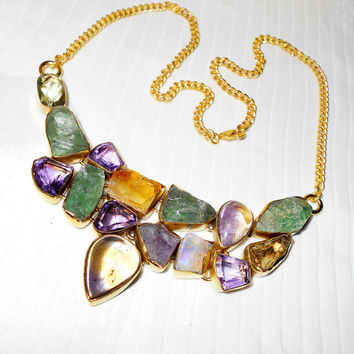 Ametrine Neckalce, Amethyst Necklace, Raw Citrine Necklace, Green Amethyst Necklace, Lobster Necklace, Brass Necklace, Chain Necklace