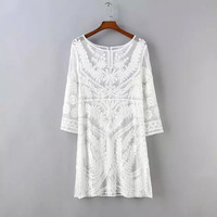 White Leaf And Floral Lace Pattern Sleeve Dress
