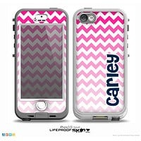 The Navy Blue Name Script & Pink & White Ombré Chevron Pattern Skin for the iPhone 5-5s nüüd LifeProof Case