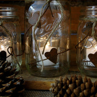 HeARtS Rustic set of 3 Mason Jars decorated with Rustic, Rusty HeArtS