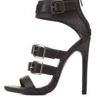 Strappy Belted Ankle Cuff Heels by Charlotte Russe