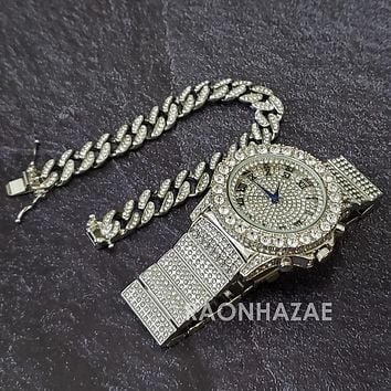 Silver Raonhazae Hip Hop Iced Lab Diamond OVIO DRAKE 14K White Gold Plated Watch with 12mm Cuban Link Bracelet Set
