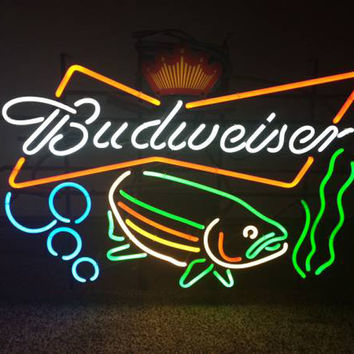 Budweiser Fish Neon Sign Real Neon Light