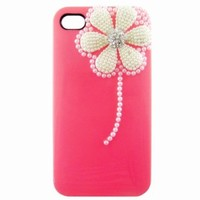 Rose 3D Flower Pearl Glitter Diamond Case Cover for iPhone 4 4G 4S