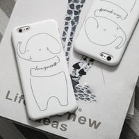Simple Line Elephant Case for iPhone 7 7Plus & iPhone se 5s 6 6 Plus Cover +Gift Box-199