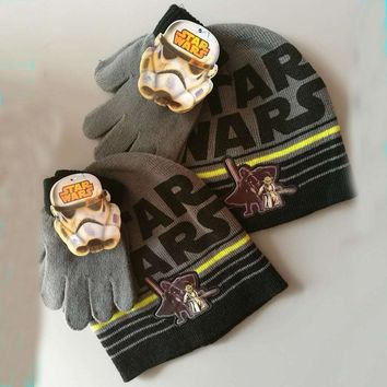 2017 Brand Star Wars Children Kids Boys Knitted Gloves Hats Sets Winter Cartoon Children's Day Halloween Gift
