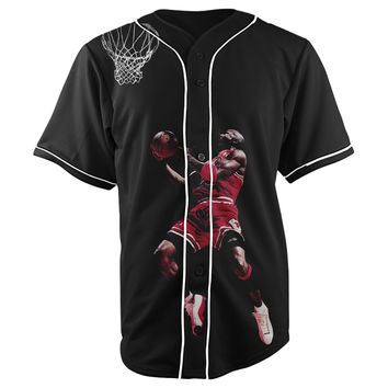 Michael Jordan V2 Black Button Up Baseball Jersey