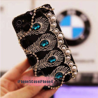 iPhone 5 Case, Unique iPhone 5 Case, iPhone 4 case, Peacock tail iPhone 5 case, Bling iphone 4 case, Bling iphone 5 case, iphone 4s case
