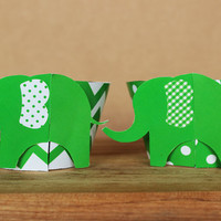 3D Green Elephant Cupcake Wrappers in bright green chevron and polka dots – DIY party printable - baby shower or birthday - INSTANT DOWNLOAD