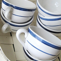 NAUTICA Navy Blue Stripe Signature White Cappuccino Coffee Cups