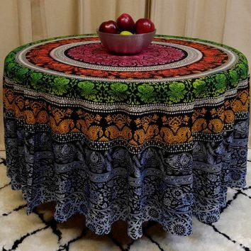 "Handmade 100% Cotton Elephant Mandala Floral 81"" Round Tablecloth Blue Green Yellow Red"
